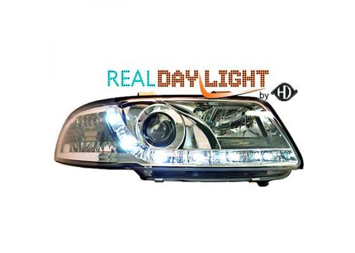 LHD Projector LED DRL Headlights Pair Clear Chrome For Audi A4 Avant 8D2 94-98 - 2