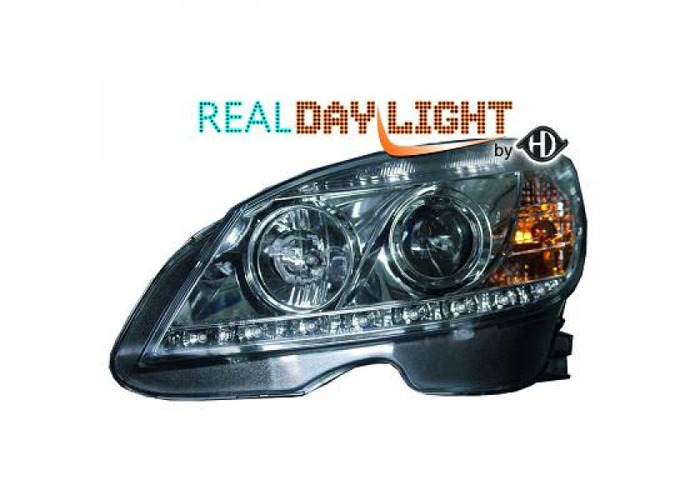 LHD Projector LED DRL Headlights Pair Clear Chrome For Mercedes-Benz W204 07-11 - 1