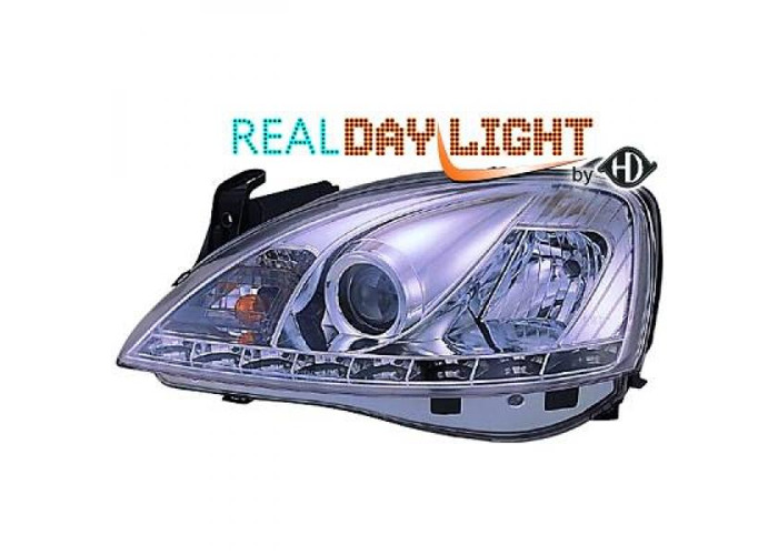 LHD Projector LED DRL Headlights Pair Clear Chrome For Vauxhall Corsa C 00-06 - 1