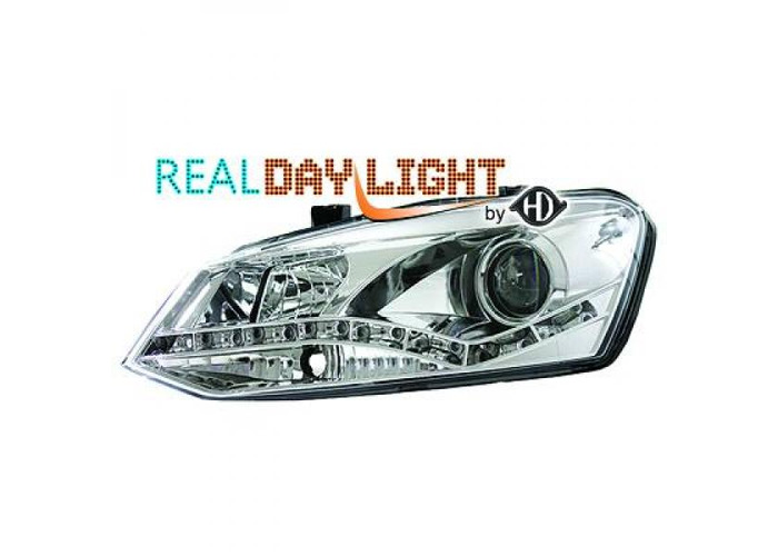 LHD Projector LED DRL Headlights Pair Clear Chrome For VW Polo 3 5 Door 09-14 - 1