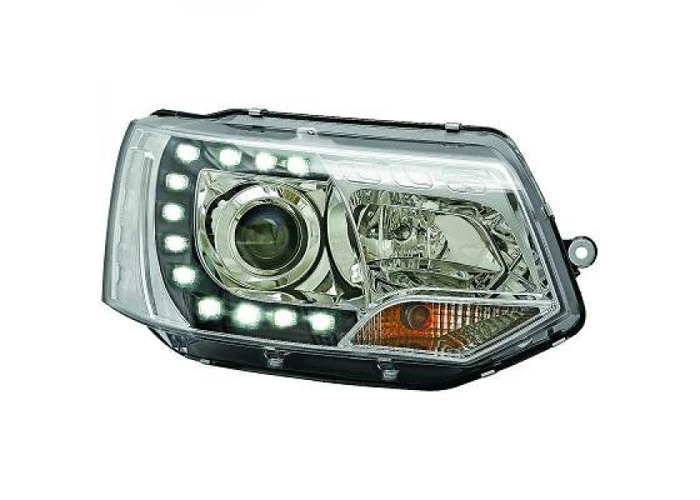 LHD Projector LED DRL Headlights Pair Clear Chrome For VW T5 Multivan 09-15 - 1