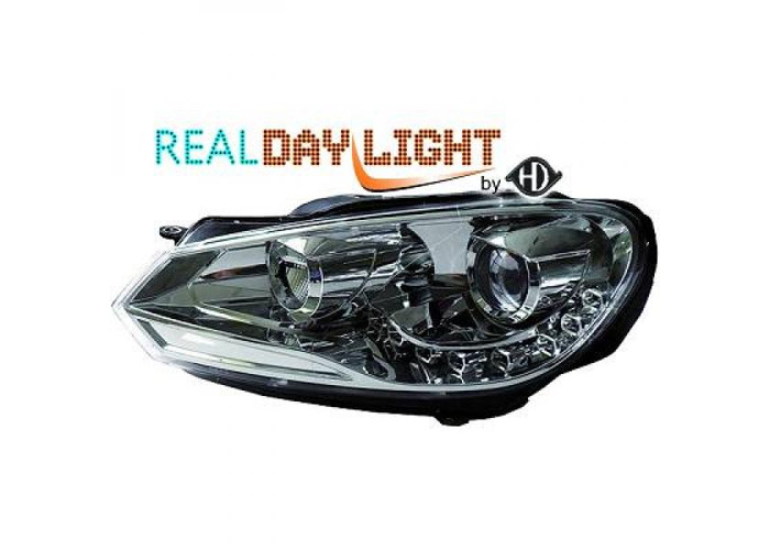 LHD Projector LED DRL Headlights Pair Clear Chrome H7 For VW Golf VI 08-12 - 1