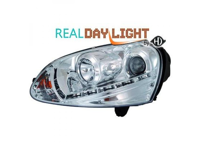 LHD Projector LED DRL Headlights Pair Clear Chrome H7 H1 For VW Golf V 03-08 - 1