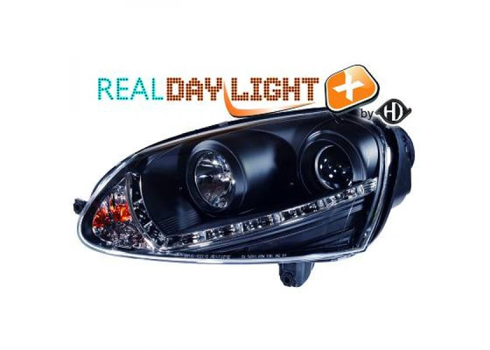 LHD Projector LED DRL Headlights Pair Xenon Clear Black For VW Golf V 03-08 - 1
