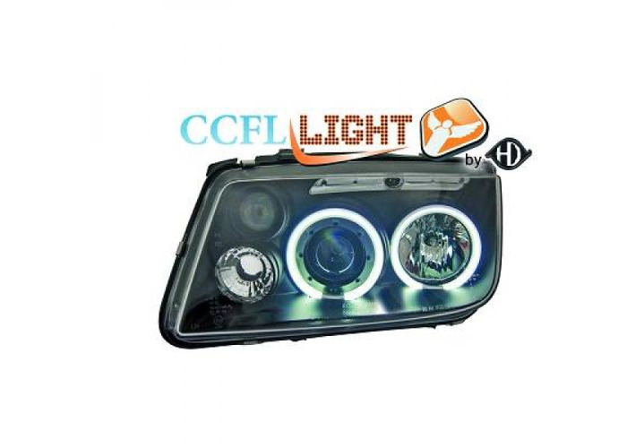 LHD Right Left CCFL Projector Headlights Pair Clear Black For VW Bora 98-05 - 1