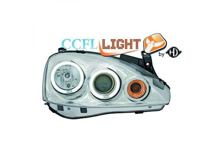 LHD Right Left CCFL Projector Headlights Pair Clear Chrome For Vauxhall Corsa C - 1