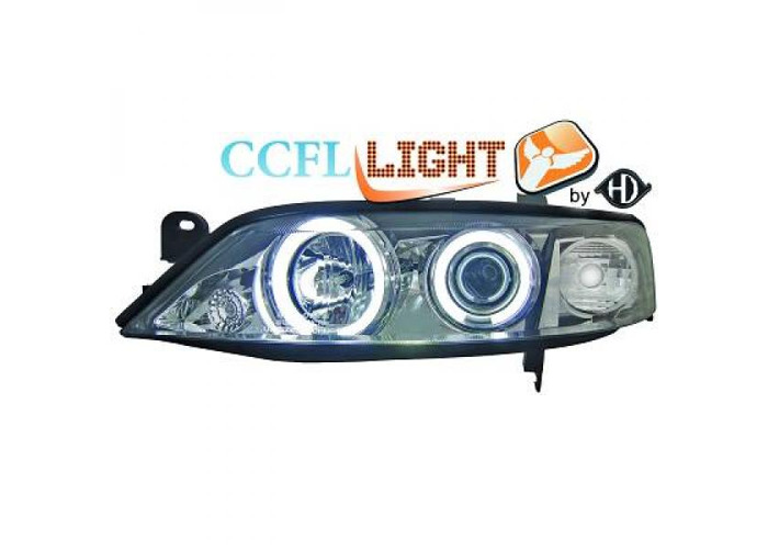 LHD Right Left CCFL Projector Headlights Pair Clear Chrome For Vauxhall Vectra - 1