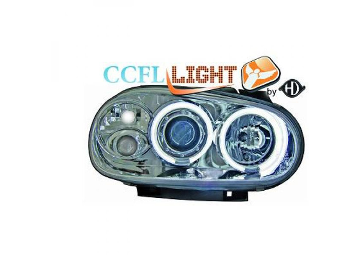 LHD Right Left CCFL Projector Headlights Pair Clear Chrome For VW Golf IV 97-0 - 1