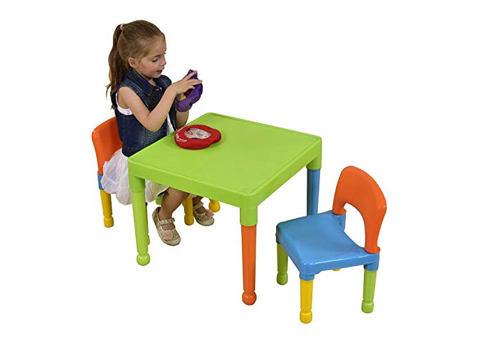 Liberty House Toys Children's Multi-Coloured Table & 2 Chairs Set, Multicoloured, 51x51x43.5 cm - 2