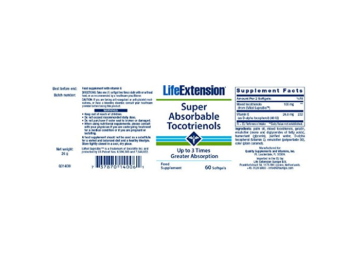 Life Extension Europe Super-Absorbable Tocotrienols Soft Gels, 60-Count - 2