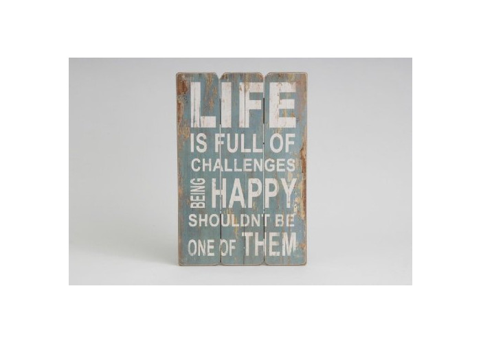 Life/Happy Wall Sign made from Wood Ornament Decoration - 1