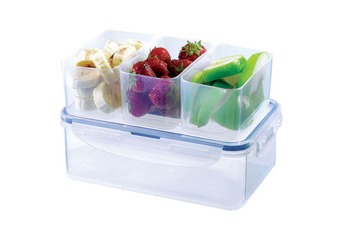 Lock & Lock Rectangular Storage Container with 3 Compartments, 1 L - Clear/Blue - 2