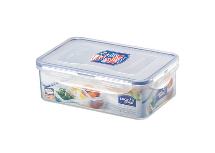 Lock & Lock Rectangular Storage Container with 3 Compartments, 1 L - Clear/Blue - 1