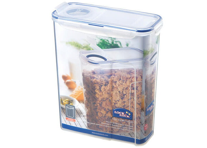 Lock & Lock Rectangular Storage Container with Flip-Top Lid, 4.3 L - Clear/Blue - 1