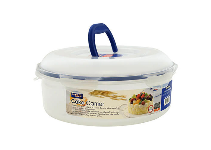 Lock & Lock Round Cake Box, 5.5 L - Clear/Blue - 1