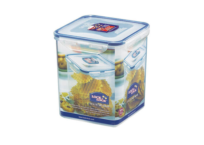 Lock & Lock Square Storage Container, 2.6 L - Clear/Blue - 1