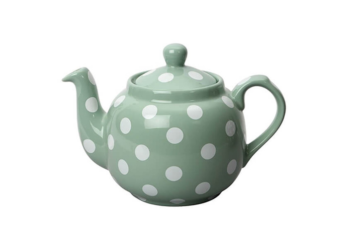 London Pottery Farmhouse Filter 4 Cup Teapot Green With White Spots - 1