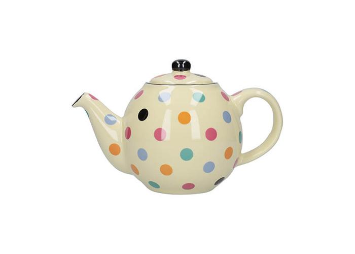 London Pottery Globe 2 Cup Teapot Ivory Multi Spot - 1