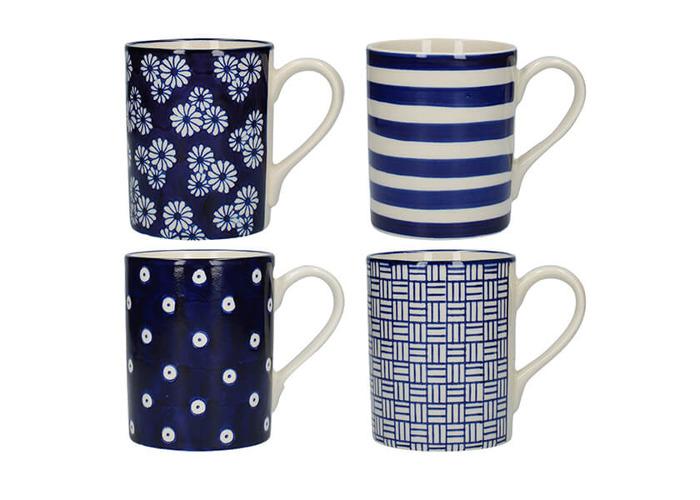 London Pottery Set Of 4 Mugs Straight Blue - 1