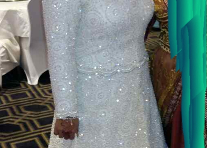 long sleeve pearl wedding dress with Tiara and pearl clutch bag - 2