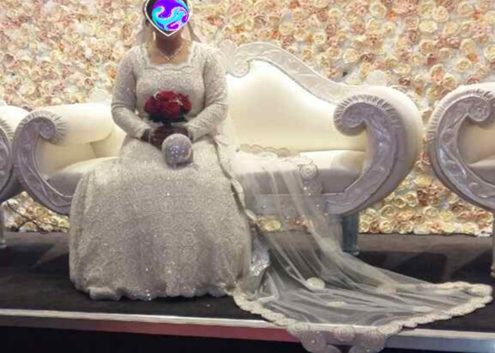 long sleeve pearl wedding dress with Tiara and pearl clutch bag - 1