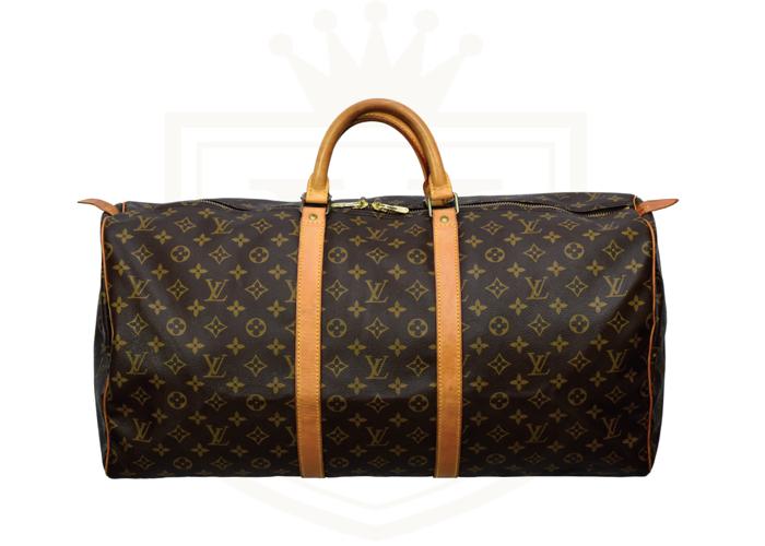 LOUIS VUITTON Brown Monogram Weekender Keepall 55 Leather Bag Free UK Delivery - 1