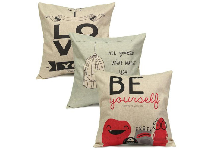 LOVE Live Letters Cotton Linen Throw Pillow Case Home Sofa Waist Cushion Cover - 2
