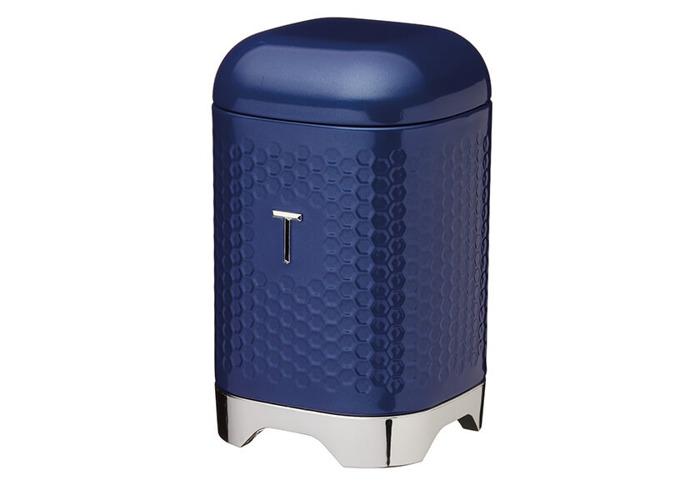 Lovello Retro Midnight Blue Textured Tea Canister - 1