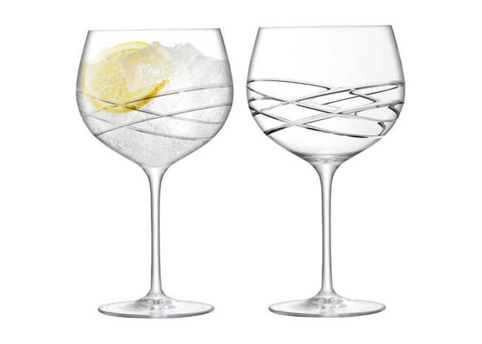 LSA Balloon Gin Glass 680ml Wave Cut Set Of 2 - 1