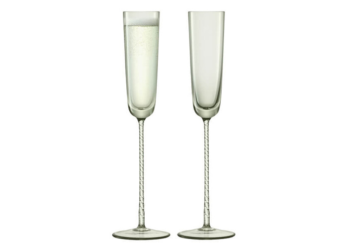 LSA Champagne Theatre 120ml Champagne Flute Braid / Smoke Grey Set Of 2 - 1