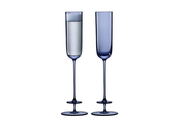 LSA Champagne Theatre 130ml Champagne Flute Tier / Midnight Blue Set Of 2 - 1