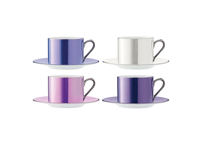 LSA International 0.25 Litre Polka Teacup and Saucer, Assorted (Pack of 4) - 1