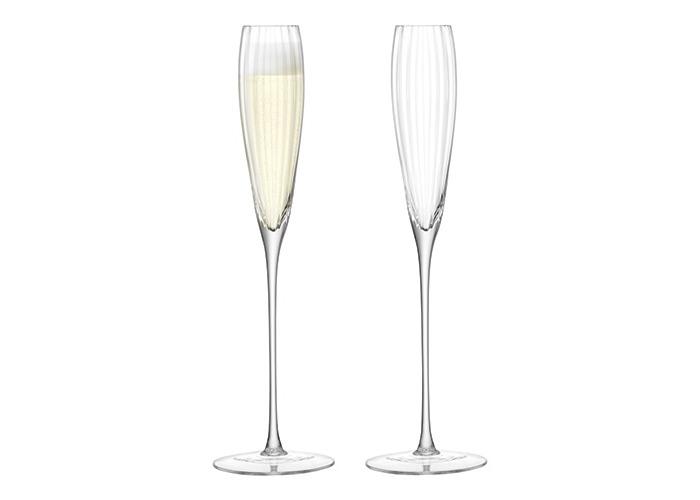 LSA International Aurelia Grand Champagne Flute 165ml Clear Optic x 2, Set of 2 - 1