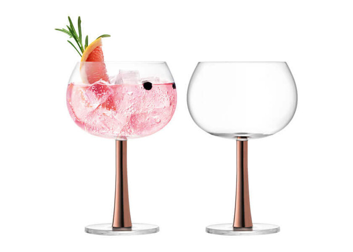 LSA International Gin Balloon Glasses 420 ml, Copper, Set of 2 - 1