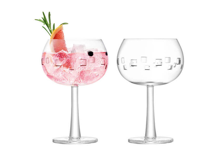 LSA International Gin Balloon Glasses, 420 ml, Cube Cut, Set of 2 - 1