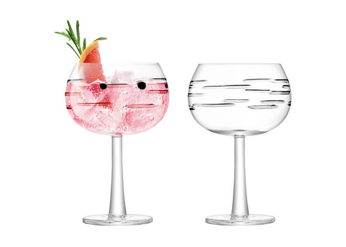 LSA International Gin Balloon Glasses, 420 ml, Dash Cut, Set of 2 - 1