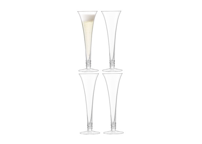 LSA International Prosecco Flute 140ml Clear, Set of 4 - 1