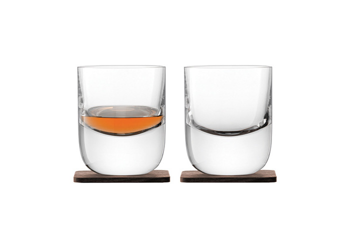 LSA International Whisky Renfrew Tumbler with Walnut Coaster, Glass, Clear, 270 ml, Set of 2 - 1