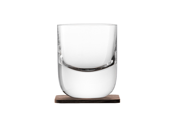LSA International Whisky Renfrew Tumbler with Walnut Coaster, Glass, Clear, 270 ml, Set of 2 - 2