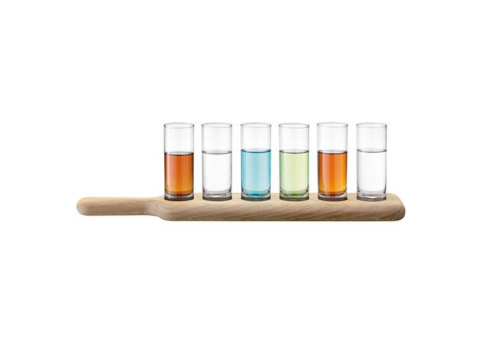 LSA Paddle Vodka Set - 6 Shot Glasses on a Wooden Serving Paddle Christmas Gift - 2
