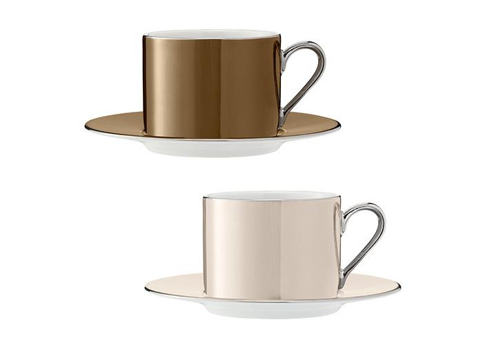 LSA Polka Metallics Tea Cup & Saucer 250ml Set Of Four - 2