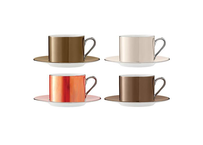 LSA Polka Metallics Tea Cup & Saucer 250ml Set Of Four - 1