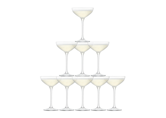 LSA Tower Champagne Saucer Set Clear 10 Piece - 1