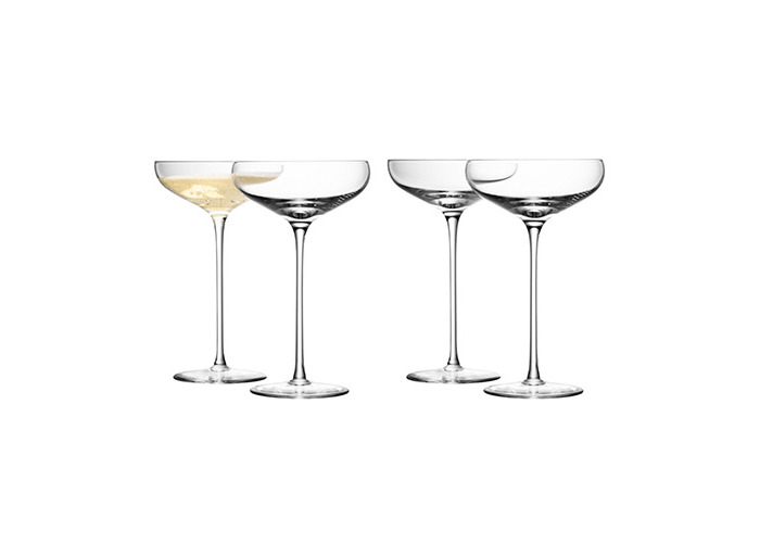 LSA Wine Collection Champagne Saucers 10.5oz / 300ml - Pack of 4 | Champagne Glasses, Champagne Coupe Saucers - Handmade Glasses from LSA - 1