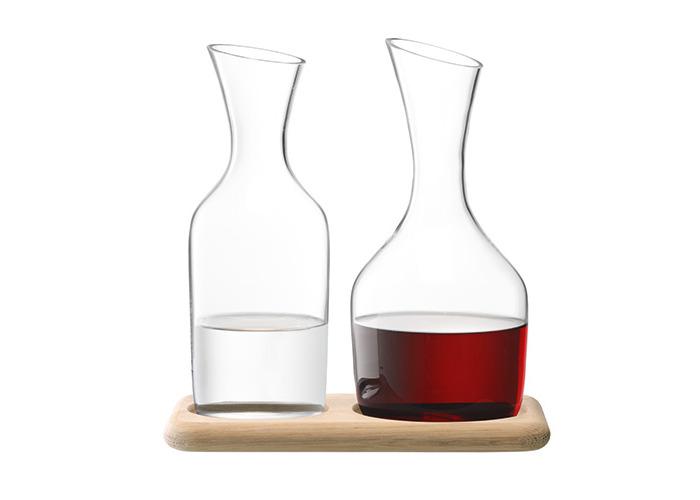 LSA Wine Water & Wine Carafe Set & Oak Base 1.2L / 1.4L - 2