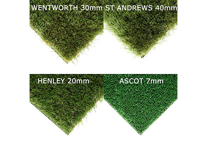 LUPO Artificial Grass Astro Turf - Ascot 7mm Pile Height Carpet - 2m x 2m - Samples Available - Realistic Fake Lawn - High Density Natural Green - 200 Sizes - 1