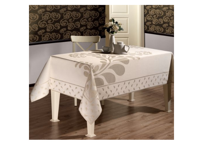 """Luxury polylinen tablecloth, jacquard-woven design, large, 150 x 220CM (59"""" x 87"""") beautifully boxed (LN5) - 1"""