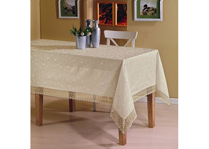 "Luxury Rectangular Tablecloths in Cream with Lace Finish Edges 160 x 220cm [63"" x 86""] Boxed - 1"
