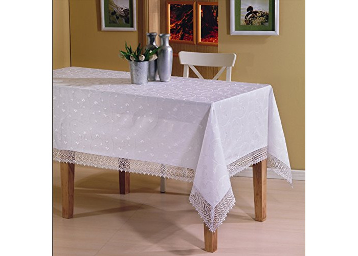 """Luxury Rectangular Tablecloths in White with Lace Finish Edges 160 x 320cm [63"""" x 126""""] Boxed - 1"""