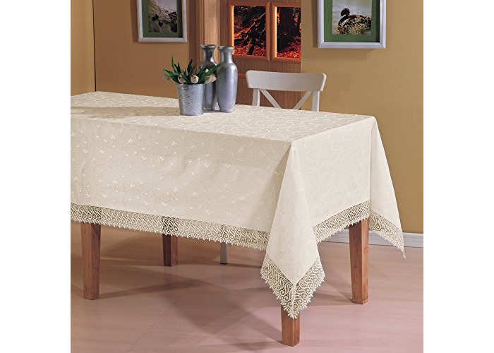 """Luxury Tablecloth in Cream, Extra Large Rectangular With Lace Finish Edges 160 x 360CM (63"""" x 142"""") - 1"""